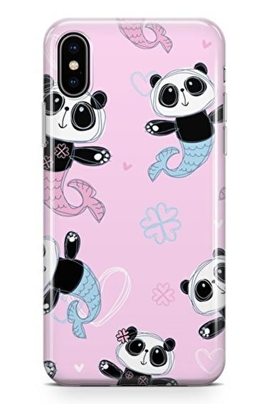 Lopard iPhone Xs Max Kılıf Silikon Arka Kapak Koruyucu Denizkızı Pandalar Desenli Full HD Baskılı Renkli